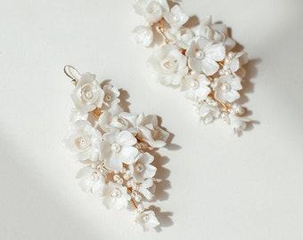 Millefiori | Flower Bridal Earrings, Enchanted Bridal Earrings, Floral Earrings, Garden Earrings, Statement Earrings, JONIDA RIPANI