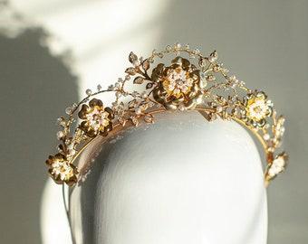 Renoir | Bridal Crown, Flower Tiara, Statement Tiara, Gold Crown, Floral Bridal Tiara, JONIDA RIPANI - Made in Italy