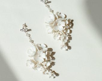 Antica | Gold Floral Earrings, Enchanted Bridal Earrings, Flower Earrings, Pendant Earrings, Statement Earrings, JONIDA RIPANI