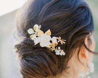 BOTTICELLI | Bridal Headpiece, Bridal Comb, Floral Headpiece, Whimsical Headpiece, JONIDA RIPANI - Made In Italy