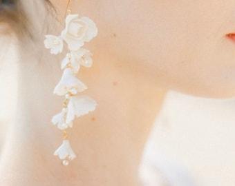 Botticelli | Flower Bridal Earrings, Enchanted Bridal Earrings, Floral Earrings, Garden Earrings, Statement Earrings, JONIDA RIPANI