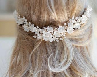 BIANCA | Bridal Headpiece, Bridal Comb, Floral Headpiece, Whimsical Headpiece, JONIDA RIPANI - Made In Italy
