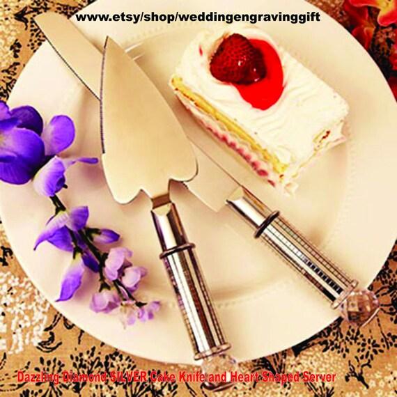 Cake Knife and Server Set Dazzle SILVER Heart Shaped Server | Etsy