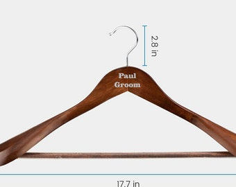 Personalized Hanger, Custom engraved suit hanger, engraved hanger for suit and pants, vintage suit hanger, wedding hanger