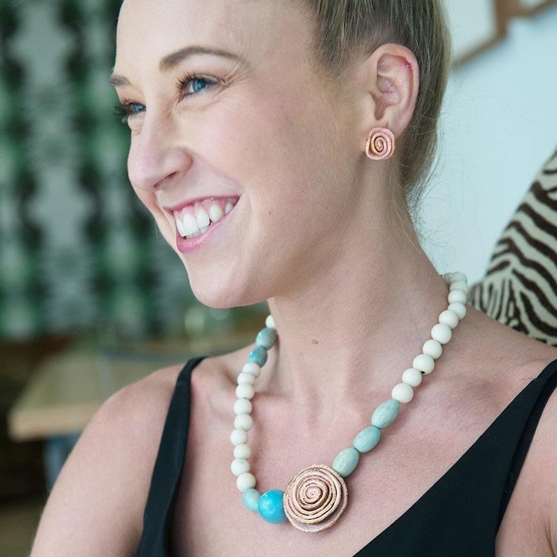 Rose Glee Beaded Choker Necklace Orange Peel Eco Friendly Natural Sustainable Necklace