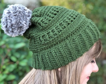 Crochet CC Beanie Copycat Hat | Hipster Slouchy Beanie | Faux Fur Pom Pom Beanie | Unisex Adult Beanie | Winter Hat | Gift for Her