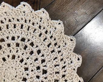 Crochet Mandala Doily | Crochet Plant Pot Pad | Plant Coaster | Crochet Altar Decor | Altar Cloth | Crystal Grid Cloth | Tarot Mat