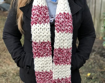 Candy Cane Scarf Neckwarmer | Long Crochet Wool Scarf with Fringe | Warm Winter Scarf | Thick Scarf | Chunky Scarf | Gifts Under 30