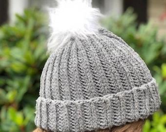 Crochet Ribbed Beanie | Adult Beanies | Unisex Hat | Double Brim Beanie | Slouchy Hat | Chunky Beanie | Simple Beanie | Pom Pom Beanie