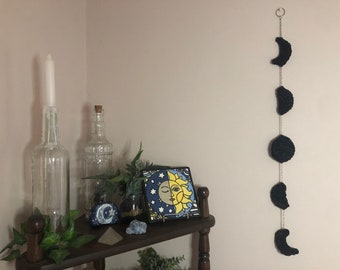 Velvet Moon Phases Wall Hanging | Phases of the Moon Wall Décor | Celestial Home Décor | Moon Garland Decor | Moon Child Gift Under 30