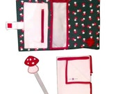 Mushrooms Kit: pacifier holder clip + nappies and wipes bag + nappy changing towel