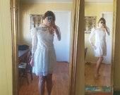 1970s white Gunne Sax Jeunes Filles mini prairie dress girls dress