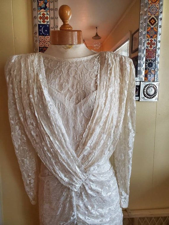 1980s does 1940s white lace wedding dress