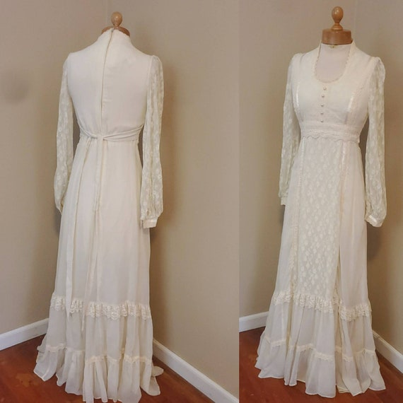 Gunne Sax 1970s dress prairie wedding dress - image 3