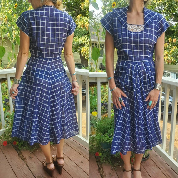 1940s blue plaid dress • small - image 3
