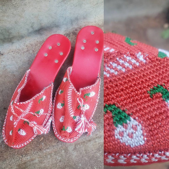 Vintage strawberry woven slippers size 7