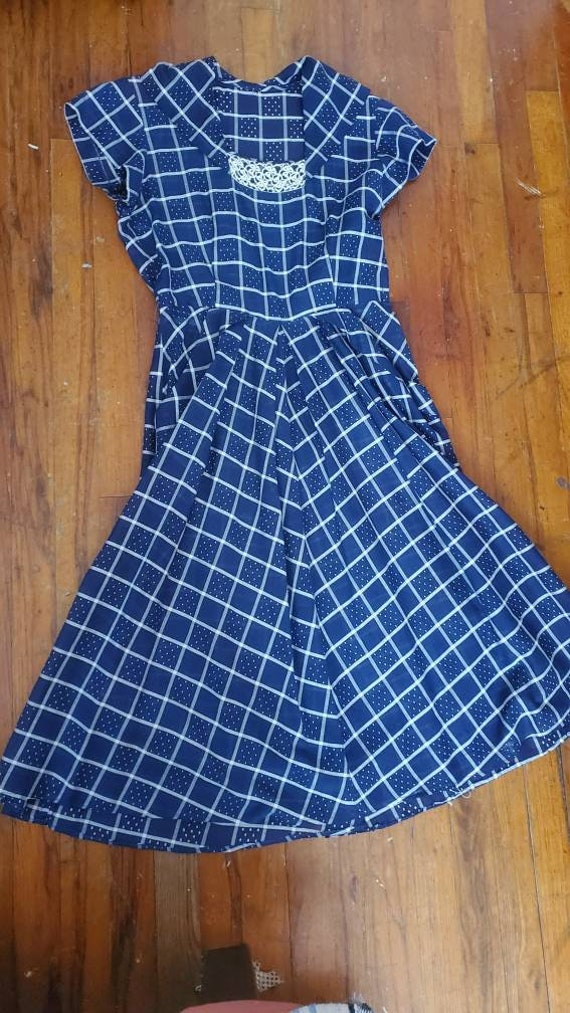 1940s blue plaid dress • small - image 9