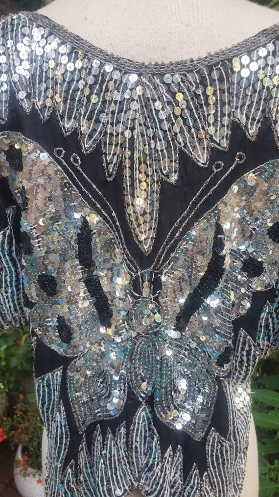 1980s embellished butterfly blouse - image 4