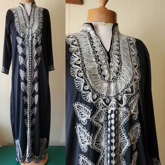 1960s boho embroidered tunic dress • size small