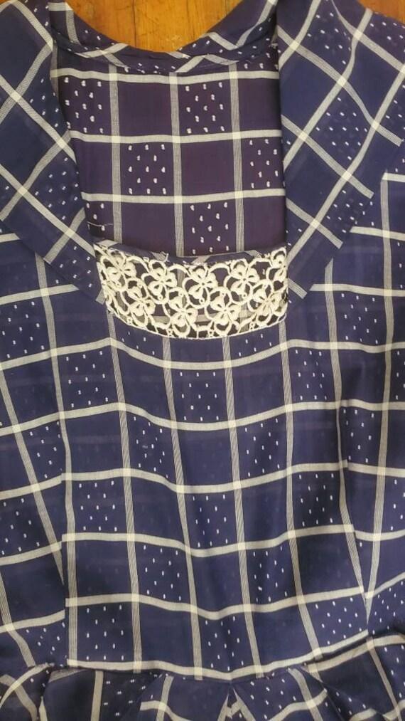 1940s blue plaid dress • small - image 4