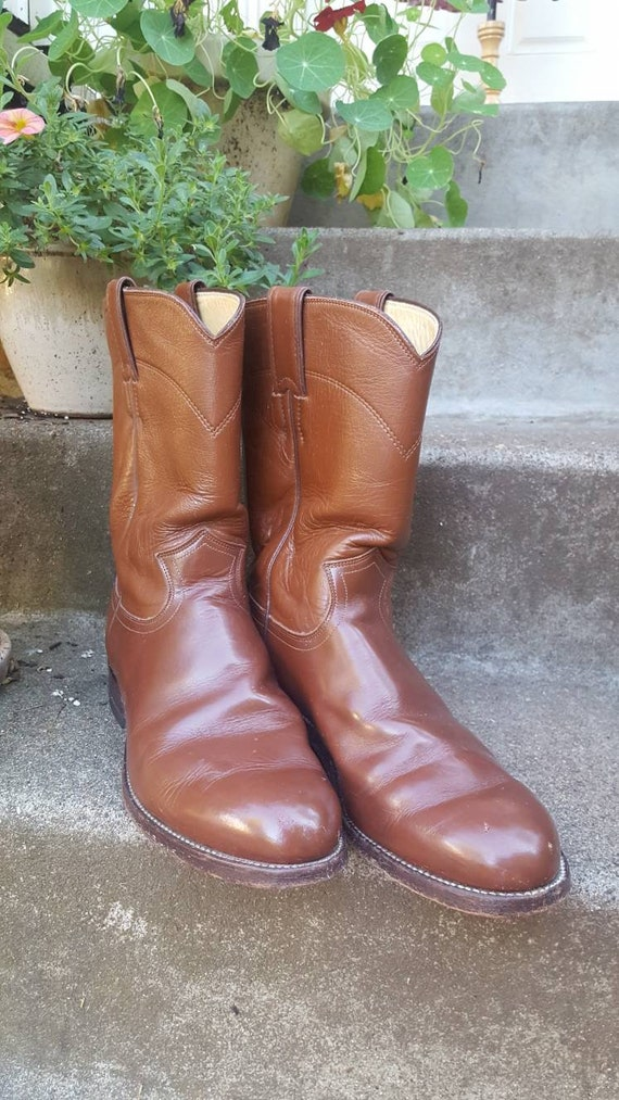 size 6 12 D mens womens or 8 medium vintage Butterscotch Leather and Skin Riding Boots by Justin Boots
