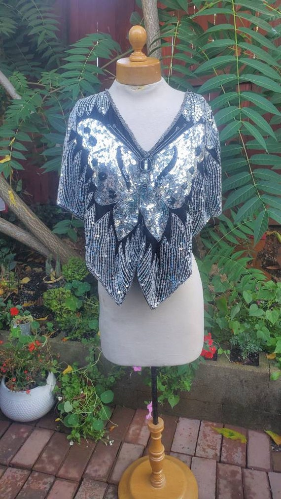 1980s embellished butterfly blouse - image 8