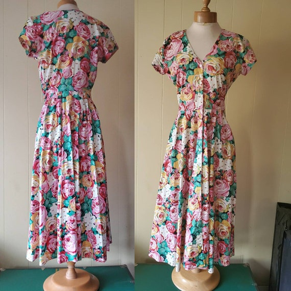1980s does 1950s rose garden dress • size medium