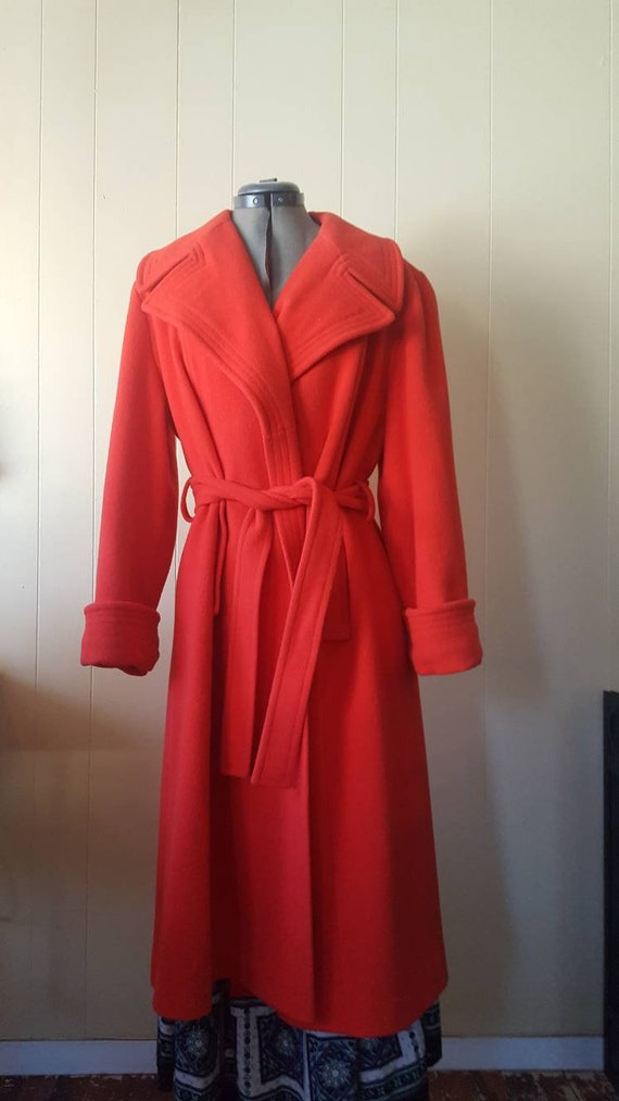 1970s | vintage large woman's overcoat | red | wi… - image 1
