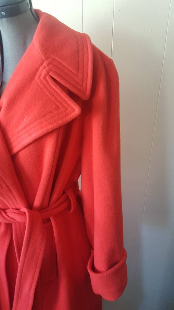 1970s | vintage large woman's overcoat | red | wi… - image 2