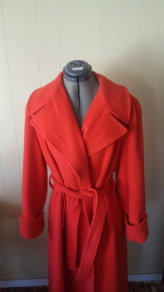 1970s | vintage large woman's overcoat | red | wi… - image 7