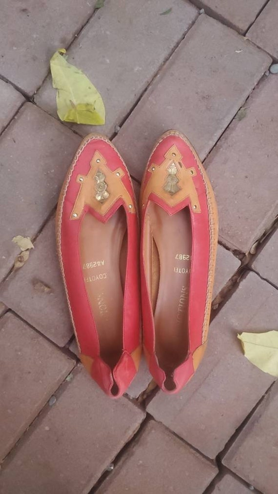 1980s red leather flats • size 8 to 8.5