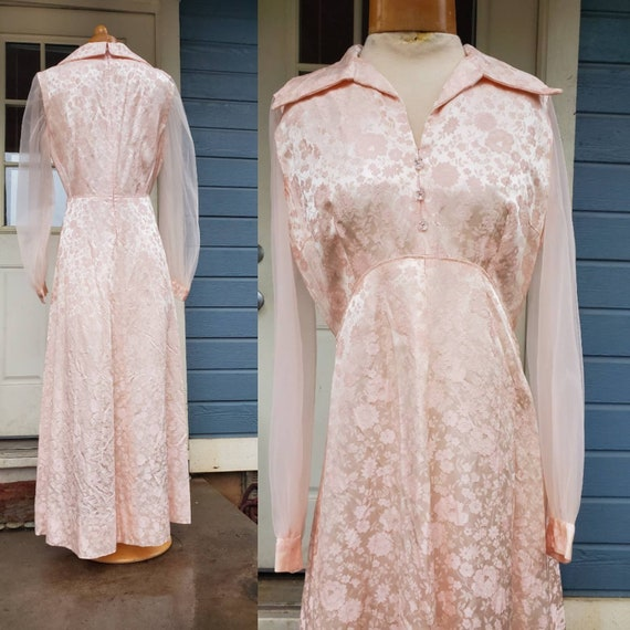 1970s pink formal dress •medium