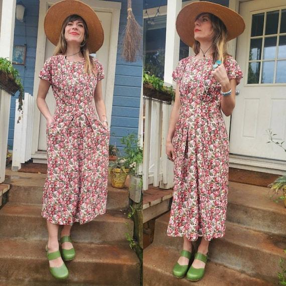 1980s does 1940s rose garden dress • s/m