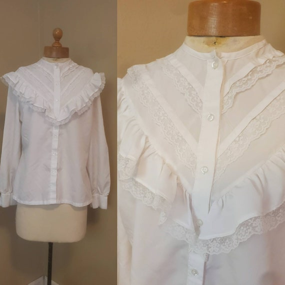 1970s white prairie blouse • medium