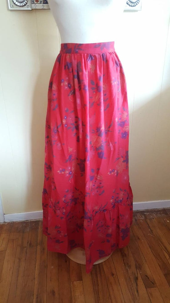 Prairie skirt long red 1970s prairie skirt size sm
