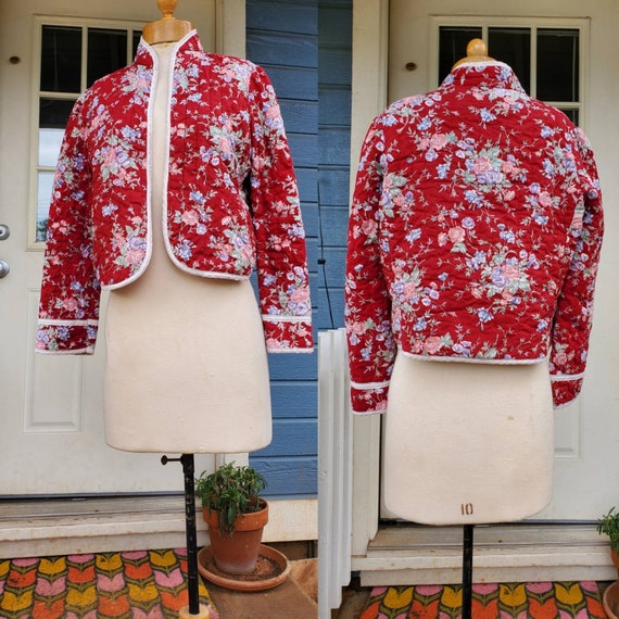 1970s red floral quilted jacket • small