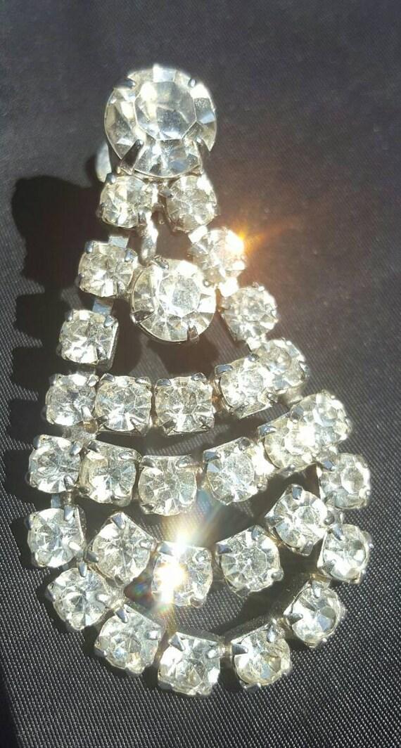 1950s | rhinestone clip on earrings