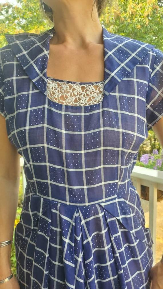 1940s blue plaid dress • small - image 10