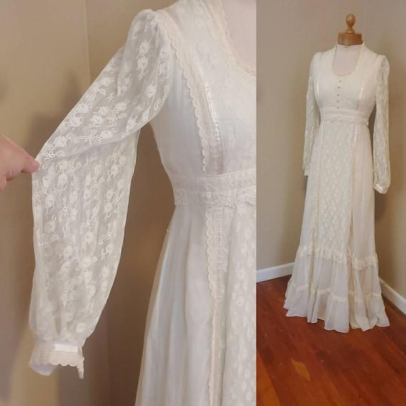 Gunne Sax 1970s dress prairie wedding dress - image 7