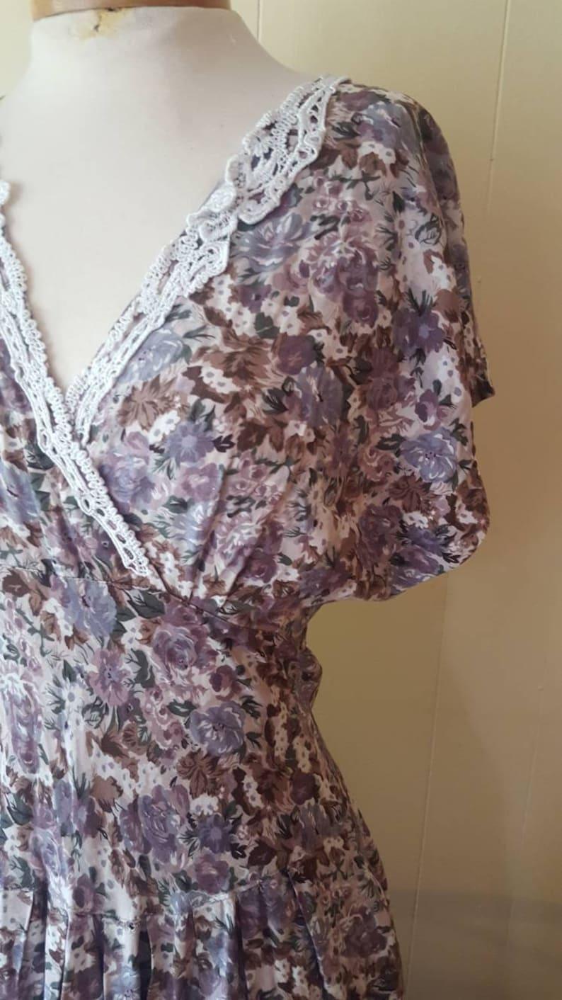 1990s does 1940s lavender lace summer dress vintage summer dresses purple floral dress