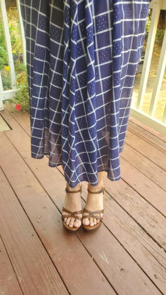 1940s blue plaid dress • small - image 8