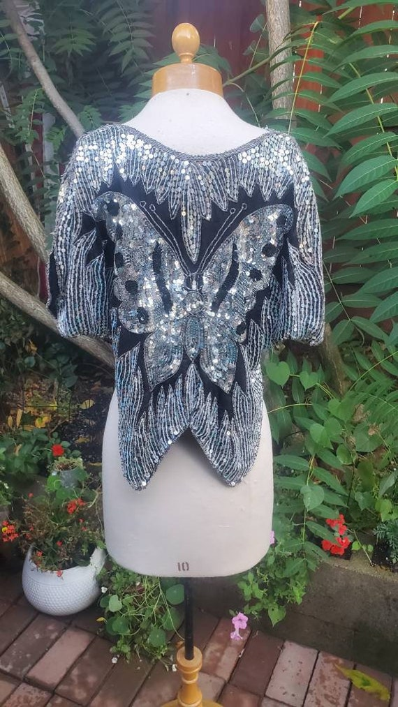 1980s embellished butterfly blouse - image 3