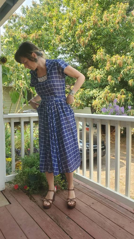 1940s blue plaid dress • small - image 5