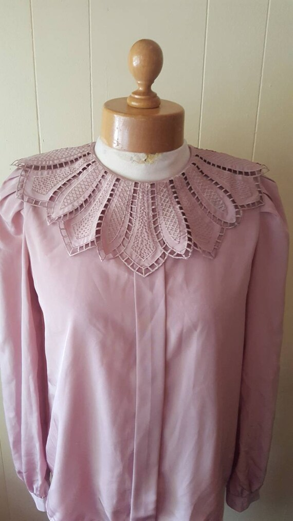 1980s blouse size women's small mauve blouse blous