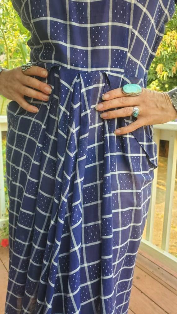 1940s blue plaid dress • small - image 7