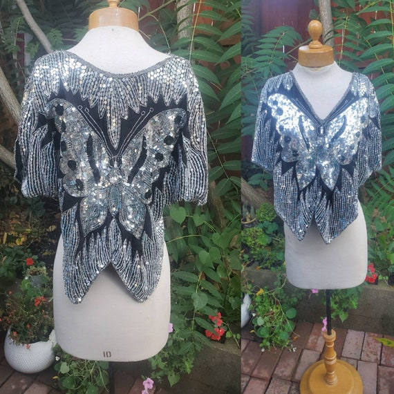 1980s embellished butterfly blouse
