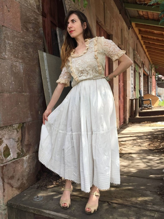 Edwardian white cotton small petticoat | antique u