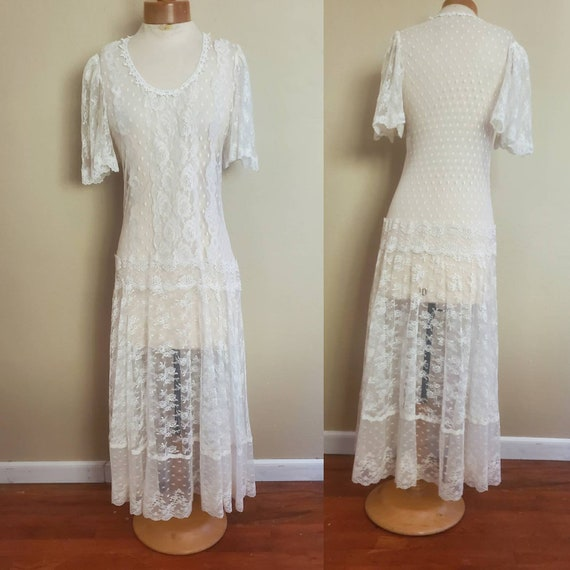 1980s does 1930s lace wedding dress