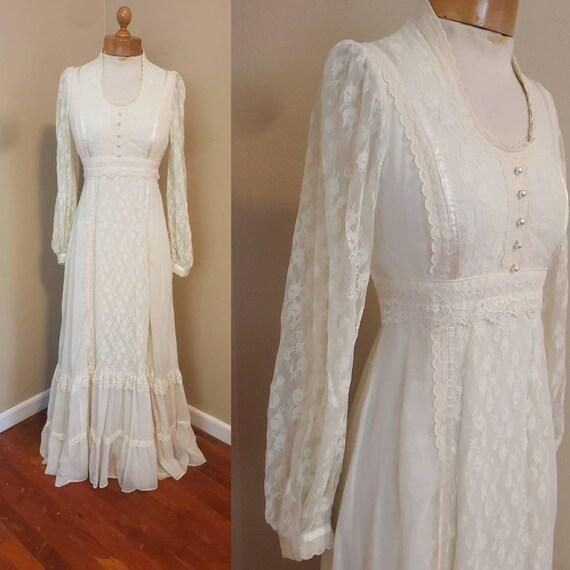 Gunne Sax 1970s dress prairie wedding dress - image 4