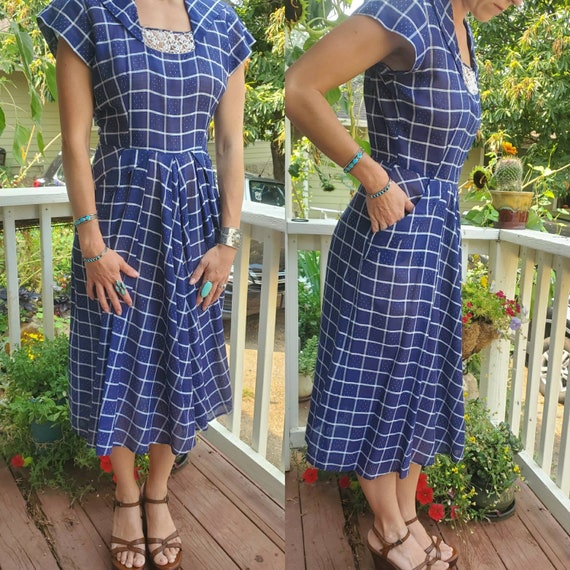 1940s blue plaid dress • small